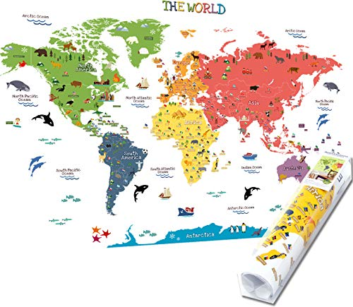 HomeEvolution, Mapa del mundo adhesivo [texto en inglés], de tamaño grande, desmontable, para niños, guardería, sala...