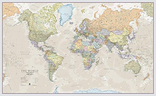 Maps International - Mapa del mundo gigante, póster clásico con el mapa del mundo, plastificado - 197 x 116,5 cm –...