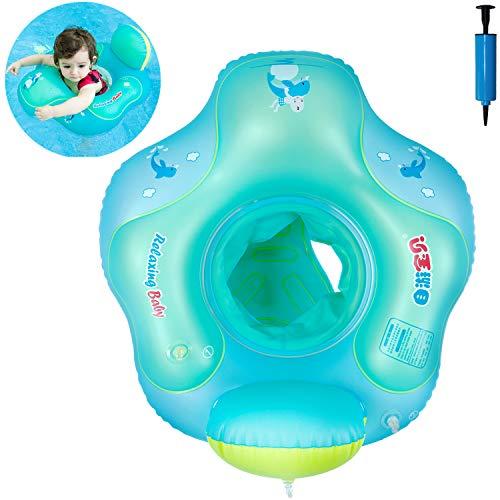 Myir JUN Flotador bebé con Asiento y Respaldo, Anillo de Natación para bebés de Piscina Flotador Inflable para Niños...