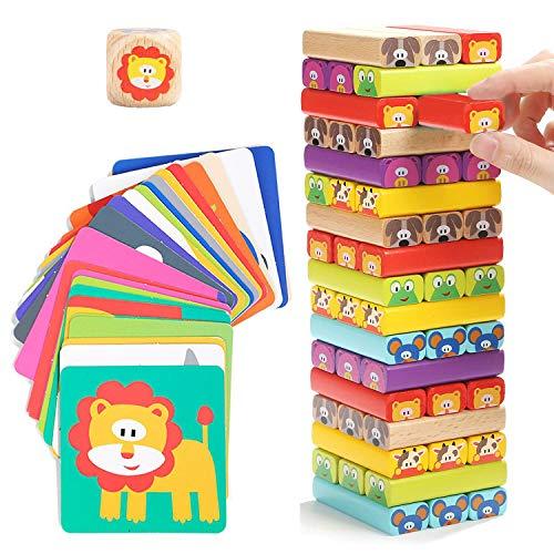 Nene Toys - Torre de Bloques Infantil de Madera 4 en 1 con Colores y Animales – Juego de Mesa Familiar Educativo para...