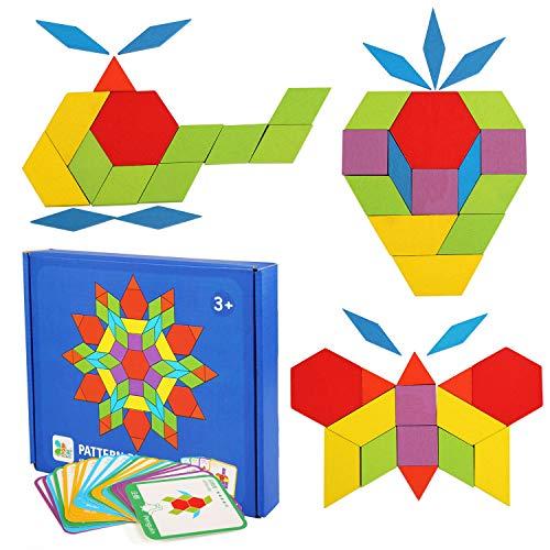 LEADSTAR Tangram Puzzle, Tangram Madera Shapes Puzzle Set Rompecabezas Tangram de Madera Kids Educativos Juegos y...