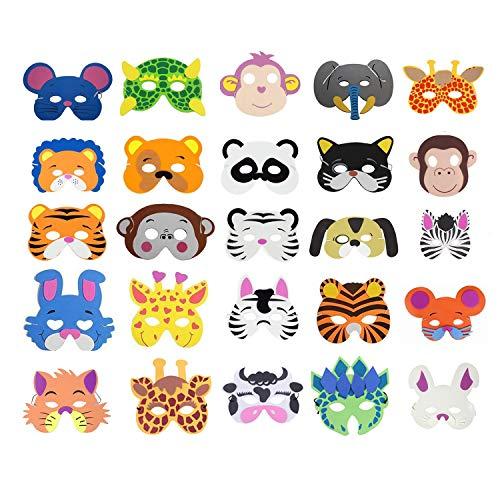 Cosoro - 25 máscaras de animales de espuma EVA para bolsas de fiesta, baile de máscaras, fiestas de cumpleaños,...