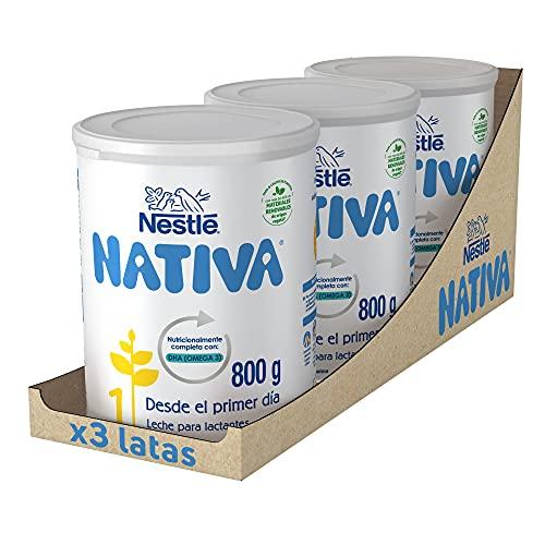 Nestlé Nativa 1- Leche Para Lactantes En Polvo- Fórmula Para Bebés- Desde El Primer Día - pack de 3 latas x800 gr -...