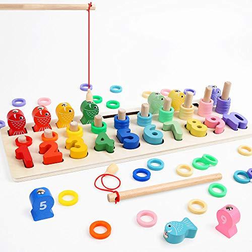 LBLA Niños Puzzle de Bloques de Madera Montessori Tablero de Conteo de Números de Apilamiento de Clasificación...