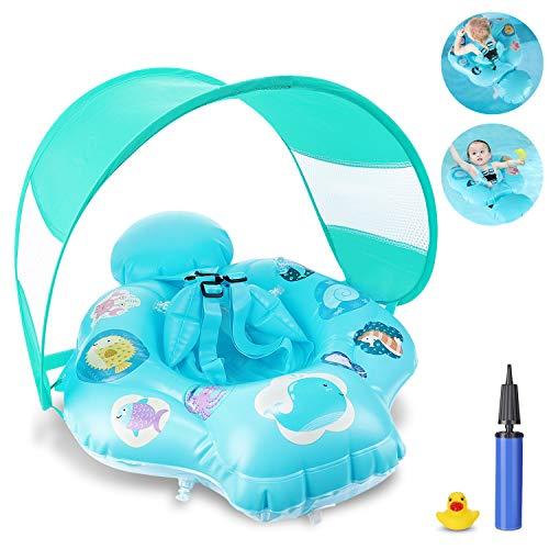 Magicfun Flotador Bebé, Flotador Hinchable Bebe de Piscina y Playa con Toldo y Asiento Seguro, Anillo de Natación Baby...