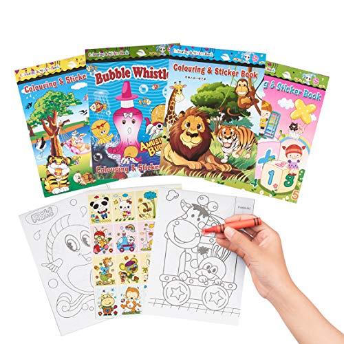 THE TWIDDLERS - Pack de 24 Mini Libros Educativos para Colorear más Pegatinas / Fiesta de Cumpleaños para Niños de 3...