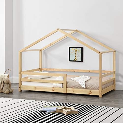 Cama para niños 80 x 160 cm Cama Infantil con Somier Estructura de Madera Pino En diseño de Casa con Reja de Seguridad...