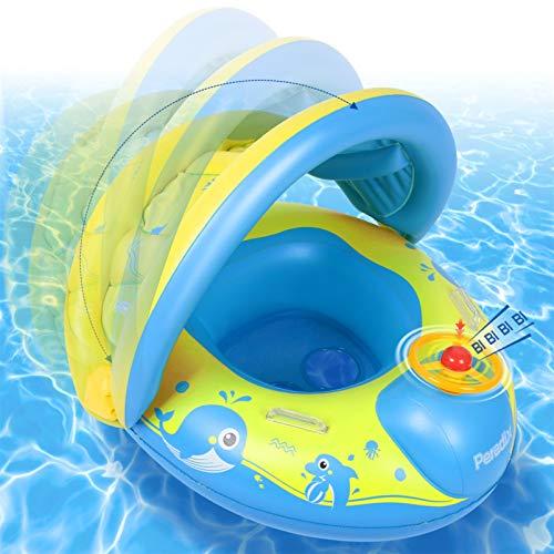 Paredix Flotador de Piscina para bebés con Sombrero para el Sol y Asiento Respaldo Techo, Flotador de Piscina Inflable...