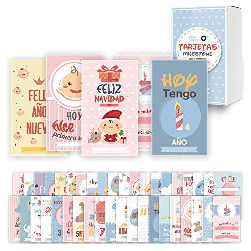 O³ Milestone Baby Cards Lola Kids – 40 Cartas En Español Para Primer Año De Bebé Con Caja De Regalo - Diseño...