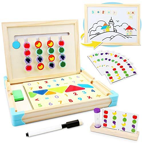 Jojoin Juego Tablero de Rompecabezas de Madera Lógico, Juguete Montessori de Madera Tablero Doble Lado con 10 Tarjetas...