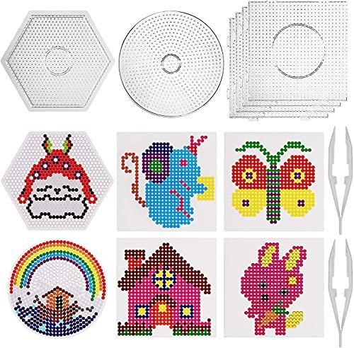 SAVITA Placa de plástico Transparente para Clavos de 5mm, Set de Beads Plantilla Grandes de 6 Piezas- 4 Forma Redonda,...