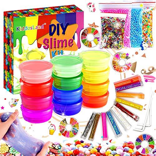 Fluffy Slime Kit de 12 Colores Crystal Slime con 10 Botellas de Brillantina para Niñas , Juguetes para Niños 4 Piezas...
