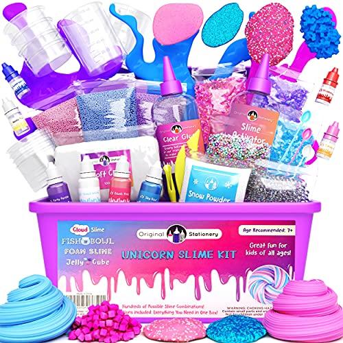Original Stationery Unicorn Slime Kit suministros para niñas que hacen limo [todo en una caja] Los niños pueden hacer...