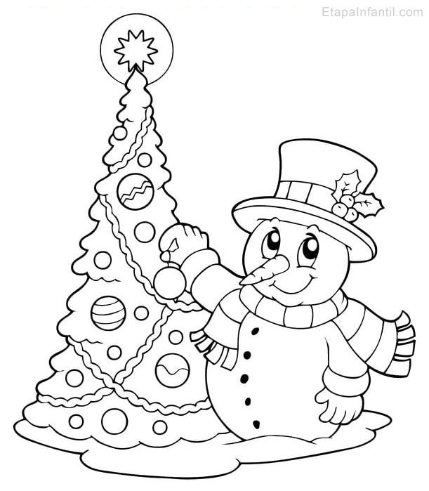 Dibujo de Navidad para imprimir y colorear de Árbol de Navidad y Muñeco de nieve