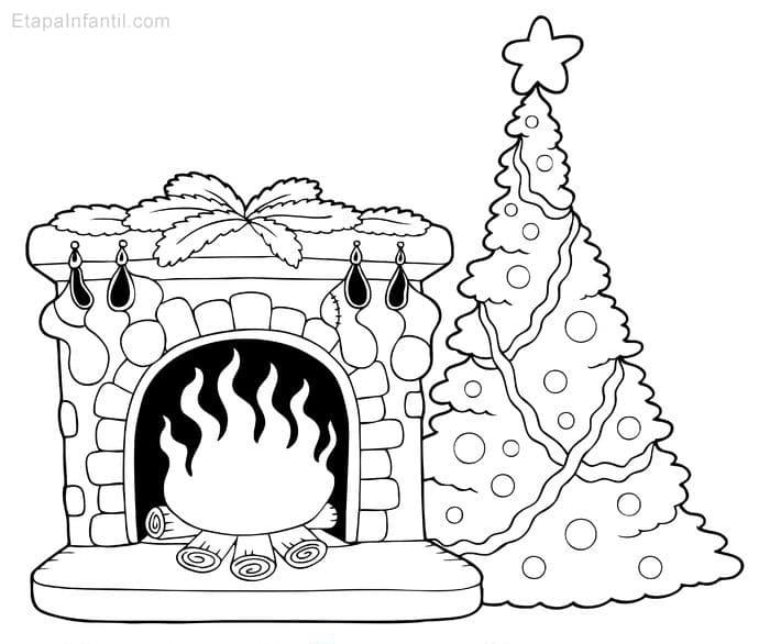 Dibujo de Navidad para colorear de Chimenea y rbol de Navidad