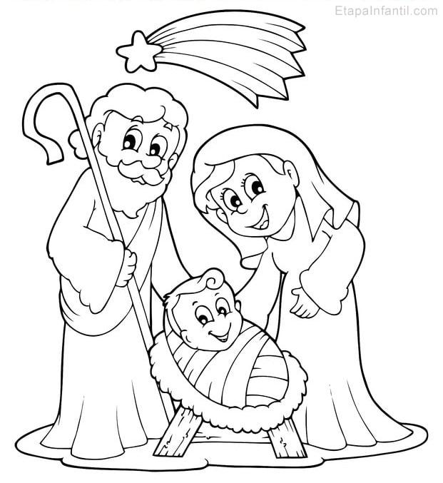 Dibujo de Navidad para colorear de Nacimiento en Belén. Niño Jesús, María y José.