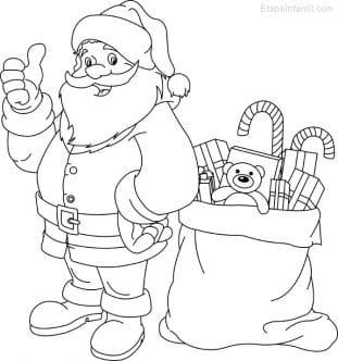 Dibujo de Navidad para imprimir y colorear de Papá Noel y saco de regalos