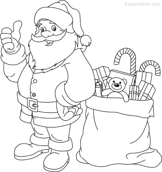 Dibujo de Navidad para imprimir y colorear de Papá Noel y saco de ...