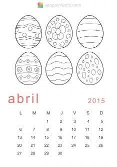 Colorear Abril 2015 Calendario para imprimir y colorear
