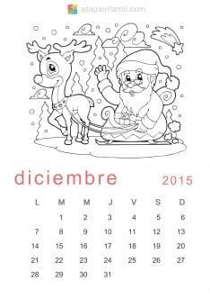 Colorear Diciembre 2015 Calendario para imprimir y colorear