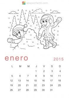 Colorear Enero 2015 Calendario para imprimir y colorear