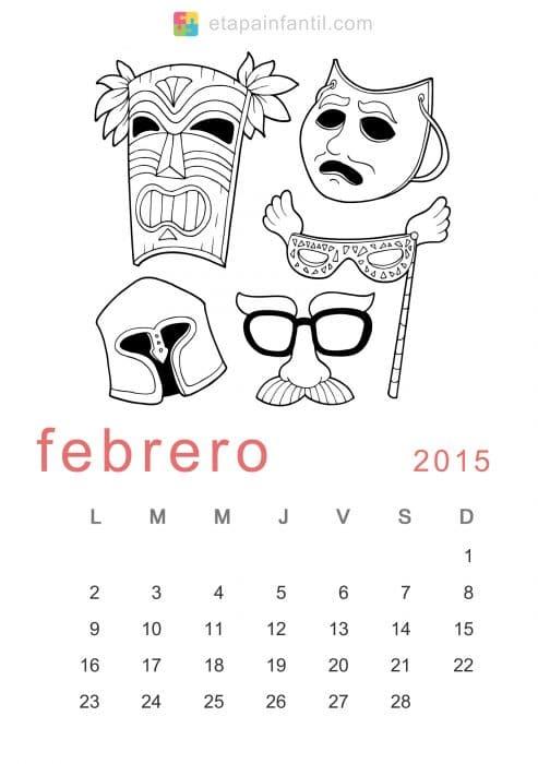 Colorear Febrero 2015 Calendario para imprimir y colorear - Etapa ...
