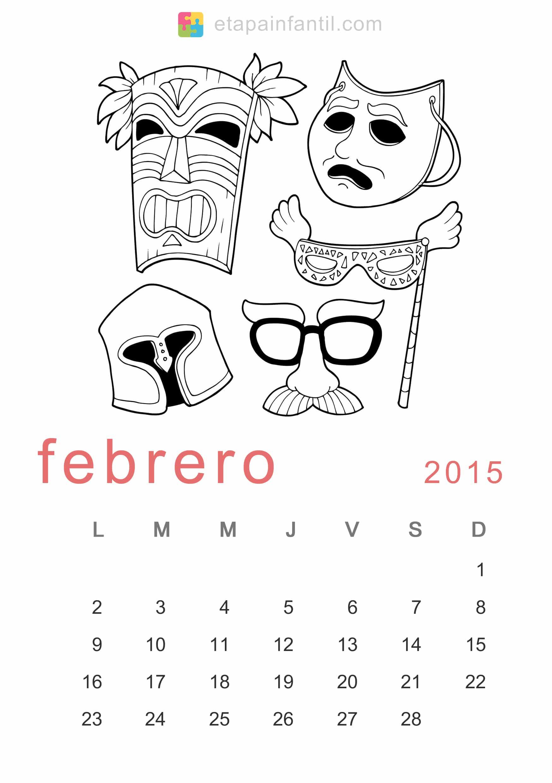 Colorear Febrero 2015 Calendario para imprimir y colorear