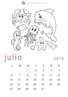 Colorear Julio 2015 Calendario para imprimir y colorear