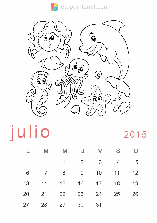 Calendario de 2015 para imprimir y colorear - Etapa Infantil