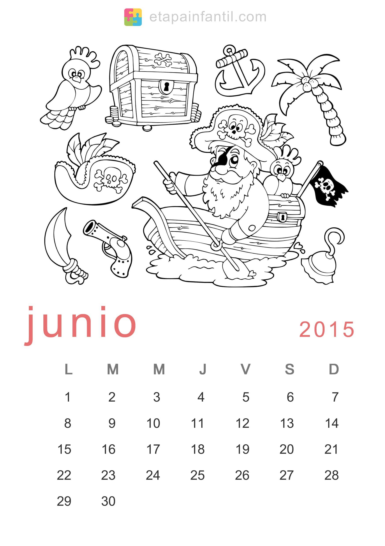 Colorear Junio 2015 Calendario para imprimir y colorear