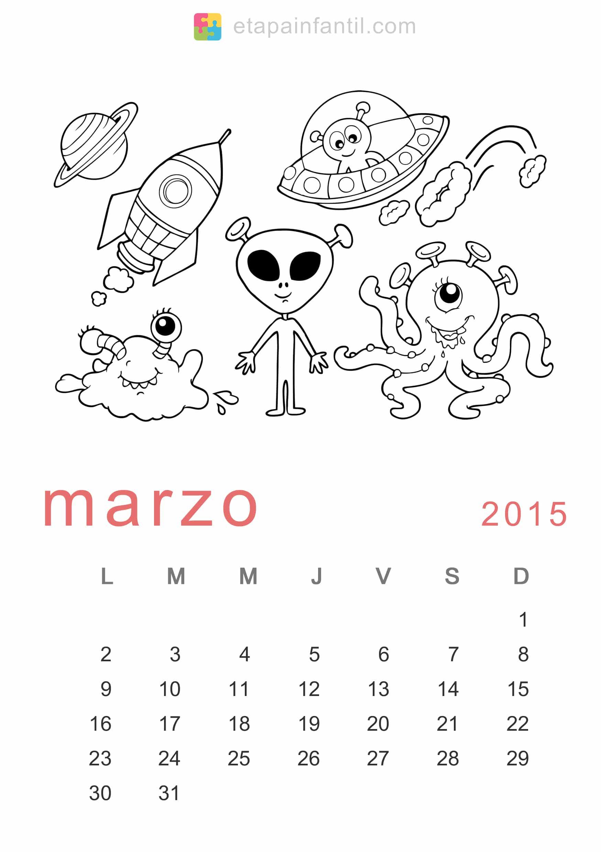 Colorear Marzo 2015 Calendario para imprimir y colorear