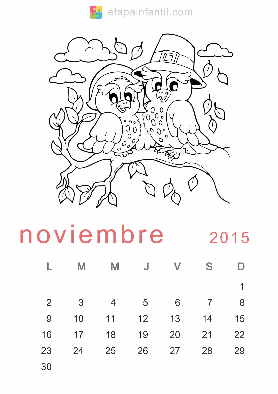 Colorear Noviembre 2015 Calendario para imprimir y colorear