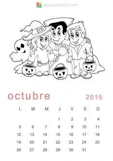 Colorear Octubre 2015 Calendario para imprimir y colorear