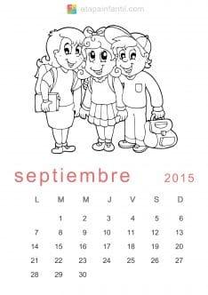 Colorear Septiembre 2015 Calendario para imprimir y colorear