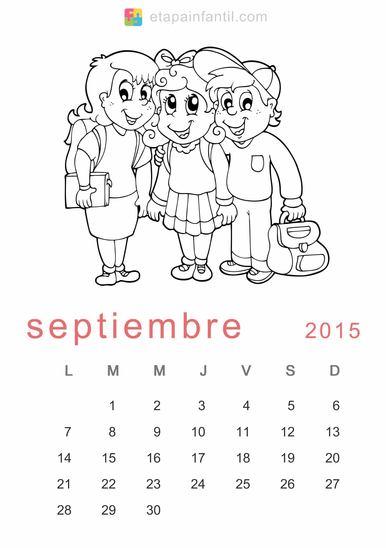 Colorear Septiembre 2015 Calendario para imprimir y colorear - Etapa ...