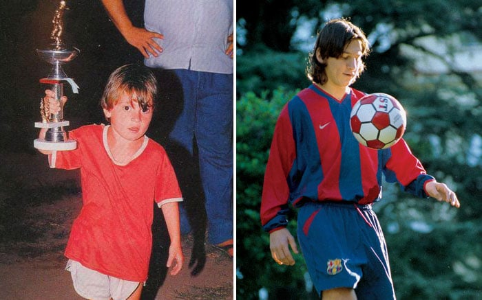 Messi de pequeño y edad actual