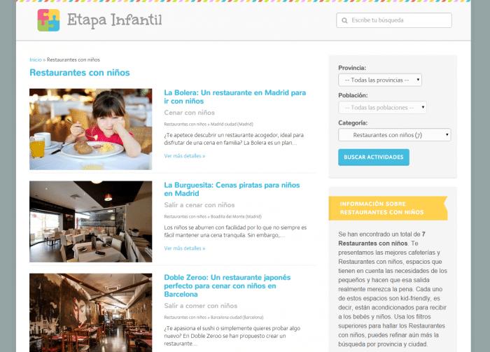 Restaurantes con niños Actividades Infantiles Etapa Infantil