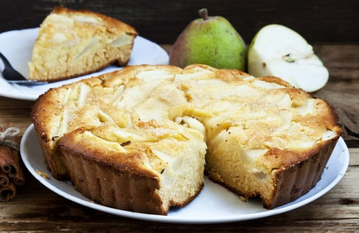 Receta vegetariana para niños Tarta de pera