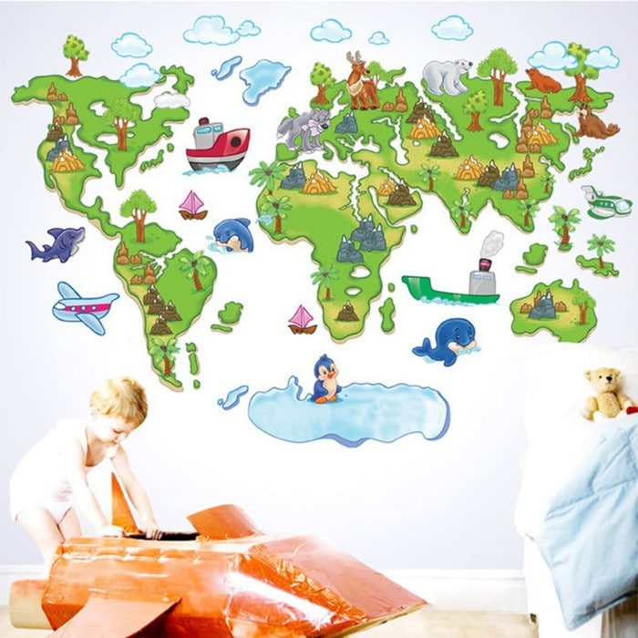vinilos infantiles mapamundi