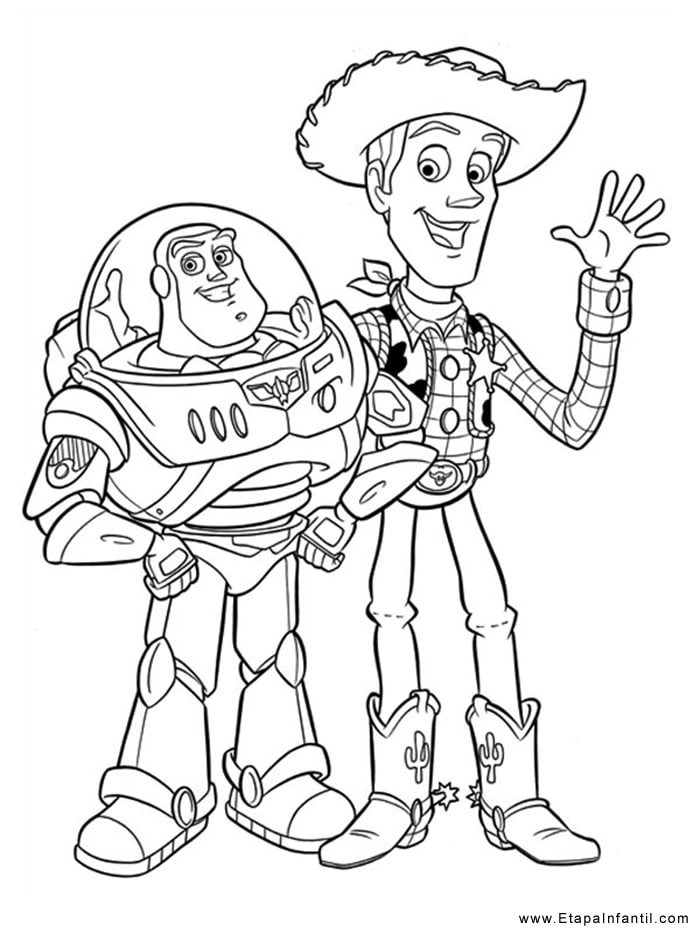Dibujo para imprimir y colorear Buzz Lightyear y Woody