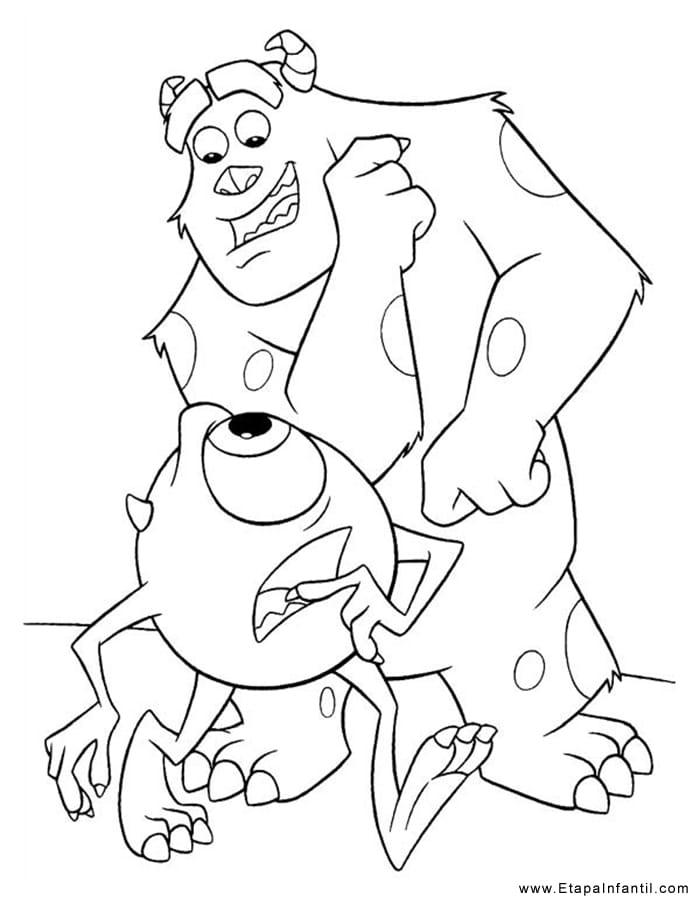 Dibujo para imprimir y colorear Monstruos SA
