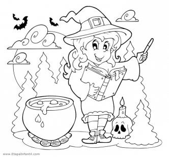 Dibujo de Bruja para colorear en Halloween