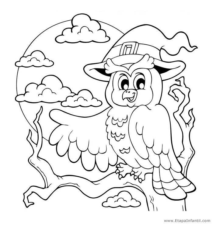 Dibujos de Buho para imprimir y colorear en Halloween - Etapa Infantil