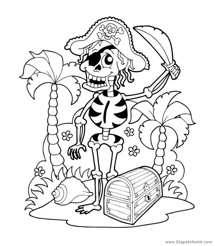 Dibujos de Esqueleto Pirata para imprimir y colorear en Halloween ...