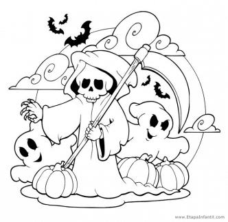 Dibujo de Esqueletos y fantasmas para imprimir y colorear en Halloween