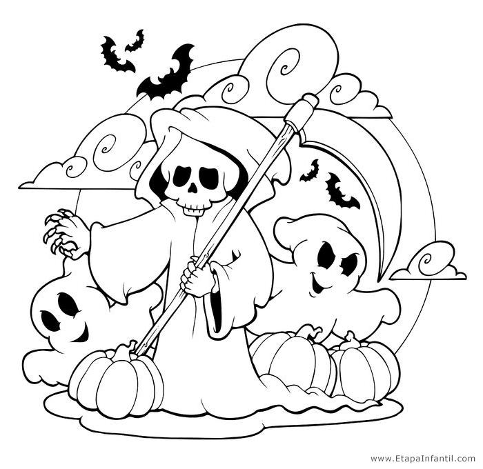 Dibujos para imprimir y colorear en halloween etapa infantil - Dibujos de halloween faciles ...