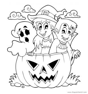 Dibujo de Fantasma, Bruja y Vampiro para colorear en Halloween