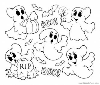 Dibujo de Fantasmas para imprimir y colorear en Halloween