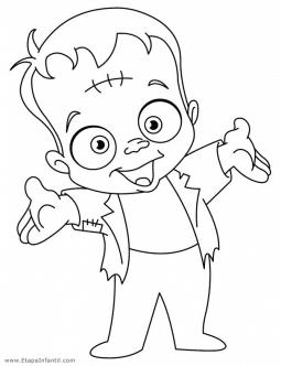 Dibujo de Frankenstein para colorear en Halloween