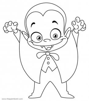 Dibujo de Vampiro para imprimir y colorear en Halloween
